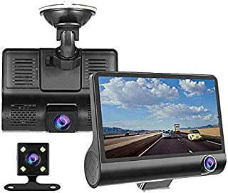 SUZEC Car Dash Cam with 4 inch Wide Screen and 1080p Quality Full HD Display with 3 Camera and 170°Wide Angle Lens, WDR, G...