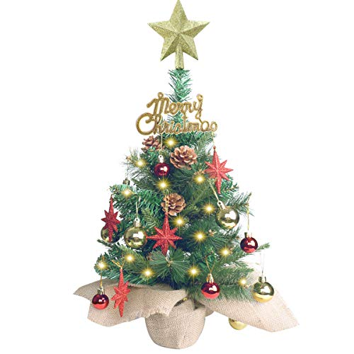 20 Inch Tabletop Mini Christmas Tree, Miniature Pine Christmas Tree with Hanging Ornaments, Battery Operated Artificial Xmas Tree, Best DIY Christmas Decorations