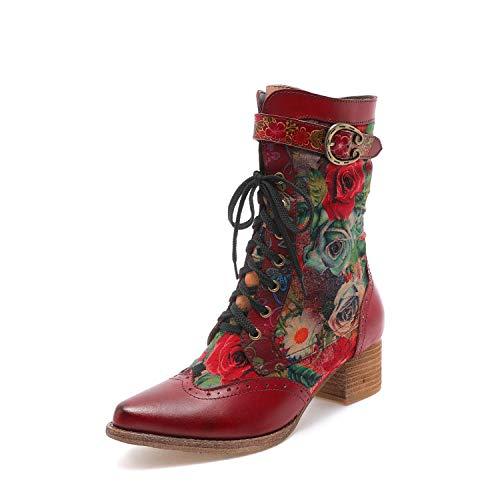 CrazycatZ Damen Stiefeletten mit Absatz Leder Cowgirl Stiefel Bohemian Embroidered Block Heel Leder Westernstiefel (X25, Numeric_40)