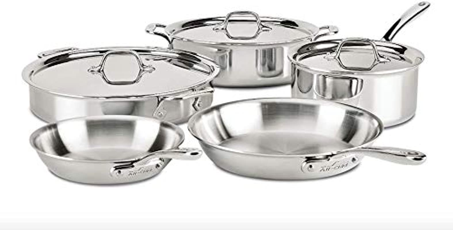 All Clad ST40008 D3 Compact Stainless Steel Dishwasher Safe Cookware Set 8 Piece Silver