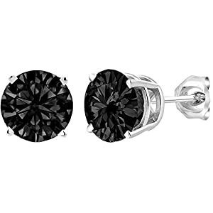 Tuuu Stud Earrings – Round Cut Cubic Zirconia 925 Sterling Silver Stud Earrings With Claw Hypoallergenic for Women Girls…