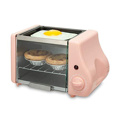 Elektrische Oven Mini, Kleine Elektrische ovens Portable, Household Mini Barbecue, Move The Glass deurkruk, Countertop Toaster met pan (Color : Pink)
