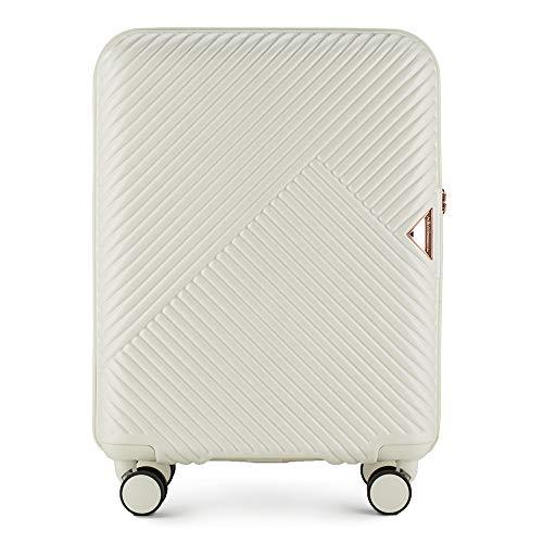 Stabiele reiskoffer trolley koffer handbagage van Wittchen wit polycarbonaat harde schaal trolley 8 rollen combinatieslot