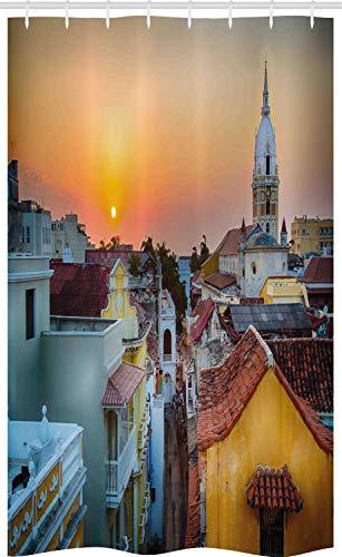 ABAKUHAUS Zonsondergang Douchegordijn, Daken Oude Stad Kust, voor Douchecabine Stoffen Badkamer Decoratie Set met Ophangringen, 120 x 180 cm, Veelkleurig