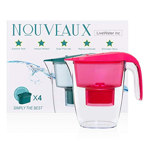 NOUVEAUX Water Filter Jug with 4×90 Days Filter Cartridges That Helps with Removal of Bacteria,Odour,Rust and The Reduction of Limescale and Chlorine to Improve Taste. BPA Free.