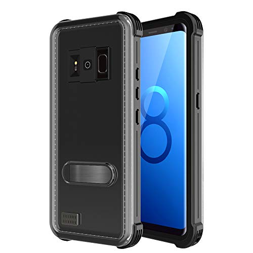 MIZUSUPI Samsung Galaxy S8 Waterproof Case, IP68 Certificated Shockproof Snowproof DustProof Full Body Protective with Kick Stand,Waterproof Test Paper and Floating Strap Black