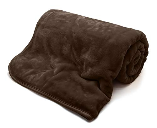Manta de visón de piel sintética suave para cama, sofá individual, color chocolate