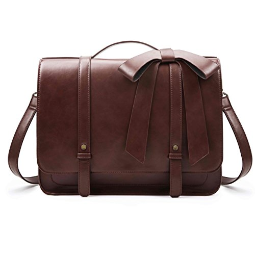 ECOSUSI Women's Briefcase PU Leather 14 inch Laptop Backpack Shoulder Satchel Computer Bag with Detachable Bow