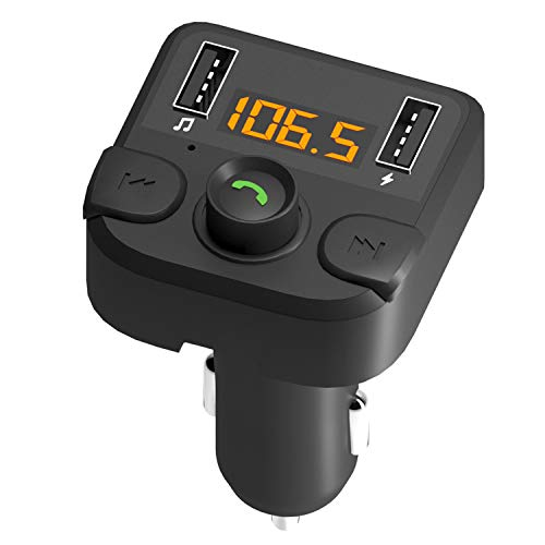 Bluetooth Stereo FM Transmitter for Car, Wireless Bluetooth 5.0 Dual Car Charger, Radio Car Adapter, Hands-Free Microphone Car Kit, Quick Charge, Mp3 FM Modulator, USB Flash Drive MP3 Music Player