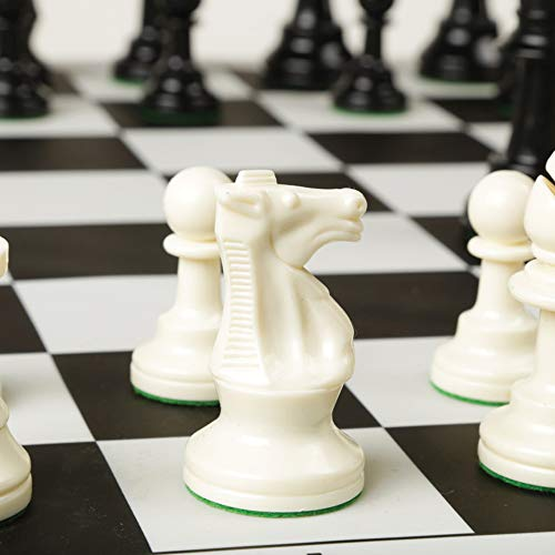 Best Chess Set Ever - Chess Board Game with Triple Weight Pieces, Black Silicone Board