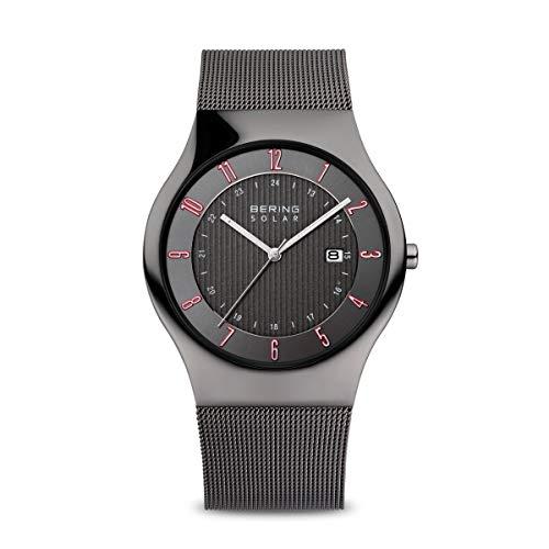BERING Herren Analog Solar Collection Armbanduhr mit Edelstahl Armband und Saphirglas 14640-077