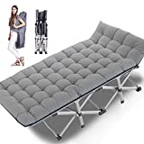 Lilypelle Folding Camping Cot, Double Layer Oxford Strong Heavy Duty Sleeping Cots with Carry Bag, Portable Travel Camp Cots for Home/Office Nap and Beach Vacation