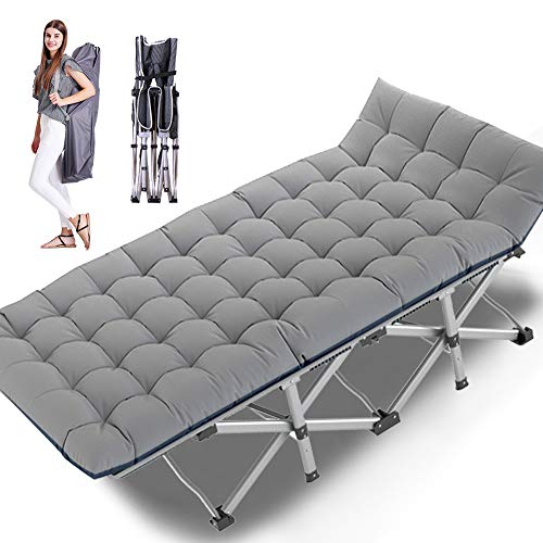 Lilypelle Folding Camping Cot, Double Layer Oxford Strong Heavy Duty Sleeping Cots with Carry Bag, Portable Travel Camp Cots for Home/Office Nap and Beach Vacation (Gray with Pearl Cotton Mattress)