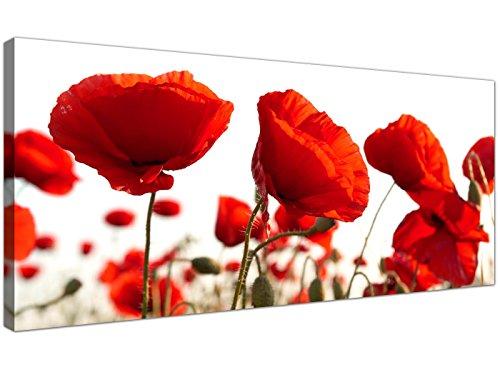 ZYQXI 5 Pezzi Quadro su Tela Pittura Decorativa Quadro Moderno Quadro con Fiori combinati Poster Estratto Papavero Rosso Stampe su Tela Immagini murali per soggiorno-30x50x2 30x70x2 30x80cm