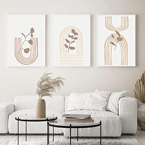 YHJK Cartel de Arte Planta Arte de Pared Flor y Hoja línea Arte Pintura Cartel minimalismo nórdico impresión decoración de Sala de Estar 3x50x70cm sin Marco