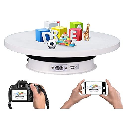 SGAIYUNRT Plataforma de Base Giratoria de 360 Grados, Soporte de Exhibición eléctrico para Fotografía Grabación Video Joyería/Blanco / 25cm Load 10kg