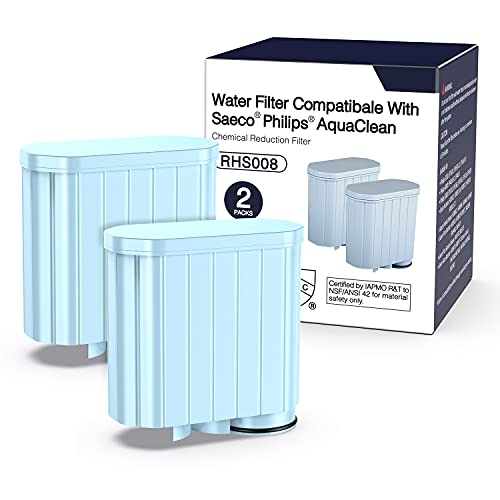 Wasserfilter AquaClean CA6903 für Philips Kaffeemaschine mit Aktivkohle-Enthärter, Kalkschutz Alkali Null Wasserfilter für Philips AquaClean Kaffeevollautomat (2pcs)