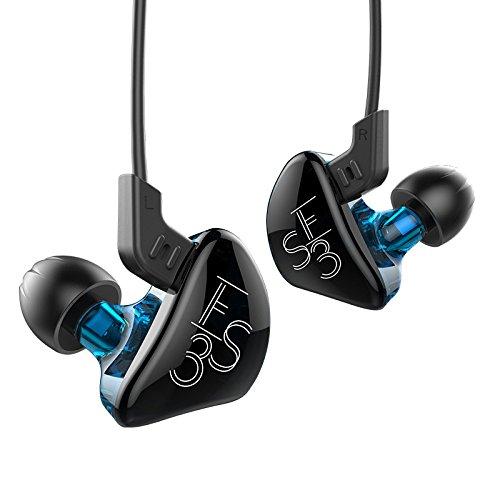 KZ ES3 1DD+1BA Auriculares híbridos con cable en el oído con cancelación de ruido, monitor de DJ HIFI, auriculares con cable desmontable Azul y verde sin micrófono