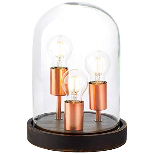BRILLIANT lamp Indus tafellamp donker hout/koper geborsteld |3x A60, E27, 75W, geschikt voor standaardlampen (niet inbegrepen) |Schaal A ++ tot E |Met snoerschakelaar