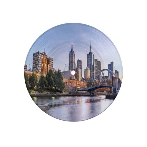 Posavasos de Discos para Bebidas,Ciudad,Paisaje temprano en la mañana en Melbourne,Australia,Famoso río Yarra escénico,Absorbente,6 Piezas,Posavasos de Disco,protección eficaz,Escritorio