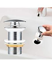 Universele afvoerset voor wastafel & wastafel chroom pop-up ventiel afvoerventiel afvoergarnituur van messing van Yimorex - eenvoudige installatie zonder gereedschap