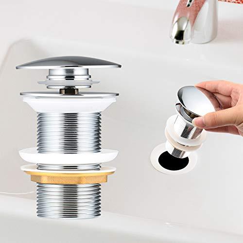 Yimorex Universal Ablaufgarnitur für Waschbecken & Waschtisch Chrom Pop Up Ventil Ablaufventil Ablaufgarnitur aus Messing - ohne Überlauf (ohne Überlauf)
