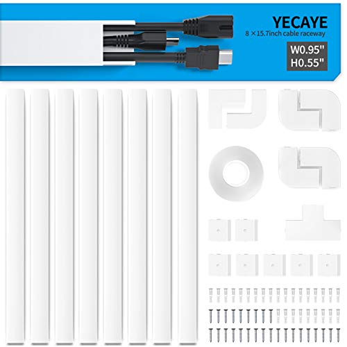 Yecaye 125in Wire Hider, Cord Cover Raceway Kit, Cable Management Channel, Cable Concealer for Mount TV System, Paintable On-Wall Runner Cord Hider, CMC-01, 8X L15.7in W0.95in H0.55in, Medium, White