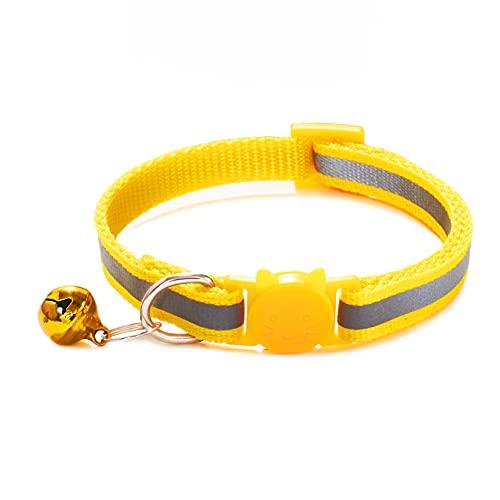 JHGJHG Tamaño Ajustable del Collar de Mascotas Adecuado para Gatos y Perros pequeños Reflective Pet Bell Collar Suministros para Mascotas con (Color : Color 1, Size : 19 32CM)