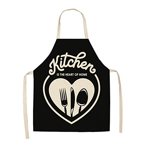 Xunsdzsw Apron 1pcs Kitchen cotton and linen aprons, monogrammed black and white patterned aprons (Color : ILW 0002 02)