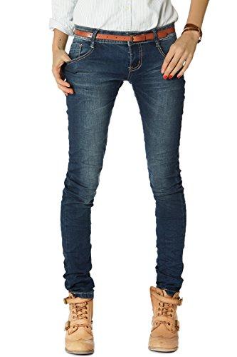 Bestyledberlin Pantalones de Mujer con Rayas de Aguja para Negocios, Corte Holgado, Pantalones de Tela j35 g, Azul, 26 W