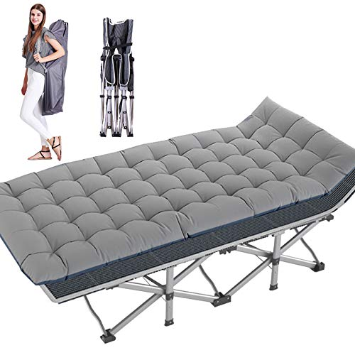 NAIZEA Folding Camping Cot, Double Layer Oxford Strong Heavy Duty Wide Sleeping Cots with Carry Bag, Portable Travel Camp Cots Foldable Bed Military Cot for Indoor & Outdoor (Pearl Cotton Pad)