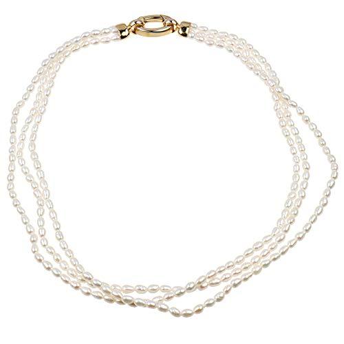 Damen Collier Halskette 3 reihig vergoldet Süßwasser Zuchtperlen SWZP creamweiß
