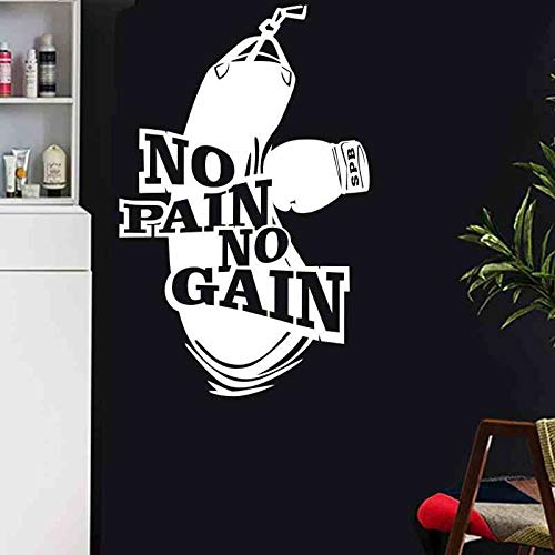 Boxing Sports Boxer Glove Kick Sandbag Sparring Ali Tyson No Pain No Gain Etiqueta de la pared Vinilo Coche Calcomanía Dormitorio Sala de entrenamiento GYM Club Decoración para el hogar Mural