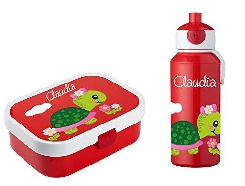 *Mein Zwergenland Brotdose Mepal Campus mit Bento Box und Gabel und Trinkflasche Campus Pop-Up mit eigenem Namen Schildkröte (rot)*