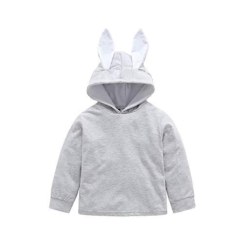 Mamum Enfants Filles Motif de Oreilles de Lapin Manches Longues Chandail Sweatshirt Longues Chemisier Pull de Automne Hiver Hauts Vêtements (90(12-18Mois))