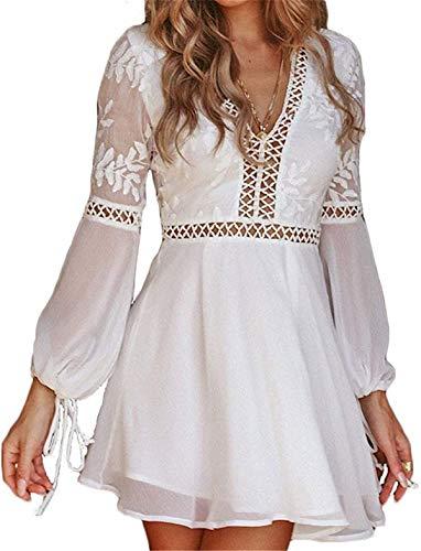 Vestido de Playa de Verano para Mujer en Encaje de Tul Informal Elegante con Manga Larga con Cuello en V (Blanco, L)