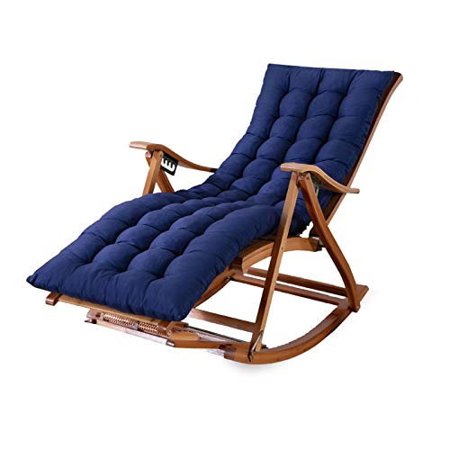 Bamboo Rocking Chair Foldable Recliner Outdoor Adjustable Leisure Garden Chairs Sun Lounger For The Elderly With Headrest Blue Cushion