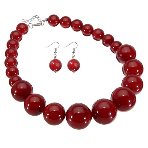 Fashion Large Big Simulated Pearl Statement Necklace Red Beads Chain Choker Collar Bib Necklace Earrings Jewelry Set
