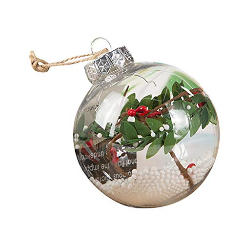 80mm Clear Ornaments Balls, Plastic Christmas Decorations Pendant Tree Balls Baubles Craft Transparent Ball Gifts for Wedding Party Decor (Y)