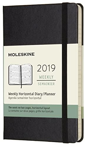 (modello precedente) - Moleskine anno 2019 Agenda Settimanale 12 Mesi, Orizzontale, Tascabile, Copertina Rigida, Nero, 9x14 cm