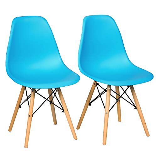 GOFLAME DSW Dining Chairs, Shell Plastic Chairs with Wood Legs, Modern Style Armless Chairs for Living Room Kitchen Bedroom, Eiffel DSW Style Side Chairs with Ergonomic Backrest Set of 2, Blue