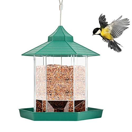 Rehomy Comedero colgante para pájaros,cenador hexagonal de plástico,contenedor de comida para pájaros, a prueba de ardillas,comedero de aves silvestres con techo y bandeja,decoración de jardín y patio