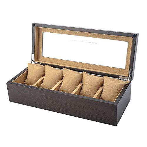 Uhr Display Box für Männer, Holzgehäuse und weiches Interieur, großer Raum mit Schloss Retro-Stil für 5 Uhren, Beste Festival Geschenk für Männer,B