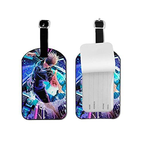 Jujutsu Gojo - Etiqueta para equipaje con estilo y exquisita etiqueta de equipaje, hecha de piel sintética de microfibra, apto para maleta y bolso