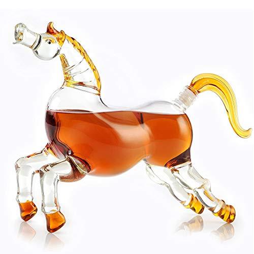 ZHIRCEKE Caballo Decanter- 1000ml Bourbon Whisky Decanter - Regalos de Caballos, Regalos de Kentucky y decoración de Bar, Regalo Ecuestre para el Amante del Caballo, decoración del Occidental