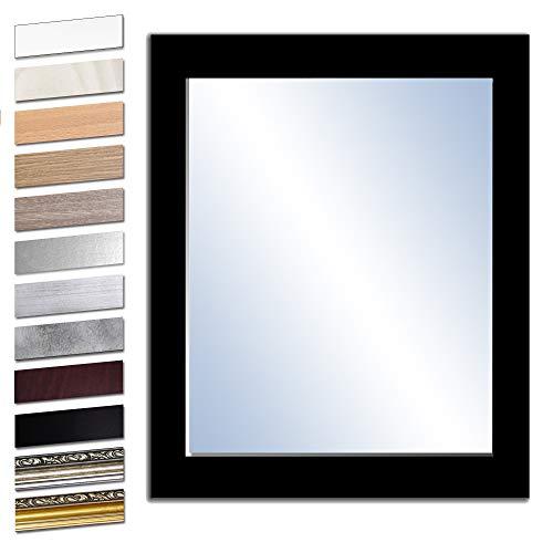 Bilderdepot24 Wandspiegel Spiegel Badspiegel Holzrahmen komplett mit Echtglas - SCHWARZ - ca. 60x50 cm