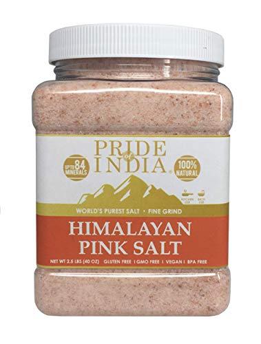 Pride Of India - Pure Himalayan Pink Salt - Enriched w/ 84+ Natural Minerals, Fine Grind 2.2 Pound (35.2oz) Jar - Himalayan Salt, Himalayan Pink Salt, Pink Himalayan Salt, Grind Salt, Pure Rock Salt