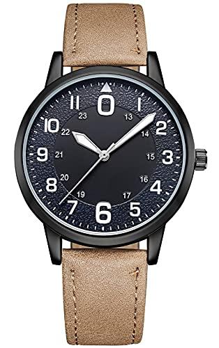 KDM Reloj Hombre Minimalista Ultra Fino para Hombre Lujo Moda Relojes Pulsera para Hombres Casual Impermeable Reloj de Cuarzo para Hombre Café