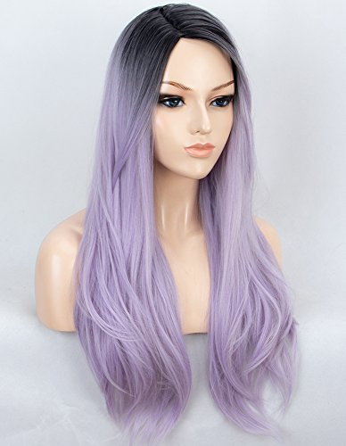 K'ryssma Ombre Purple Synthetic Wigs for Women Long Straight Machine Made Ombre Wig with Black Roots 22 inch