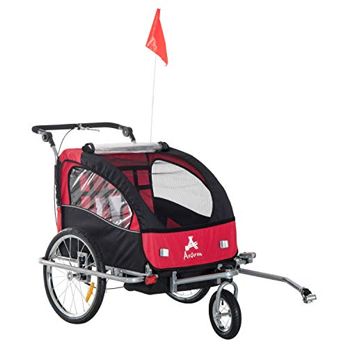 Tidyard 3-in-1 Chid Bike Trailer Cart Cargo and Jogging Stroller Kids Bicycle Carrier with Handle Bar and Wheels Bike Hitch Safety Flag Children Bike Stroller Red